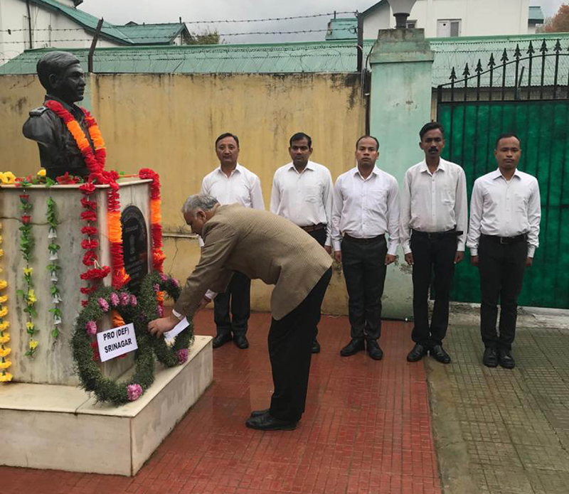 PRO Defence Srinagar Col Rajesh Kalia on behalf of ADG (M and C) and all ranks of the unit laying floral wreath at the memorial in Public Relations Office, Srinagar.