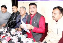 AJKPC President Anil Sharma addressing press conference in Jammu on Thursday. -Excelsior/Rakesh