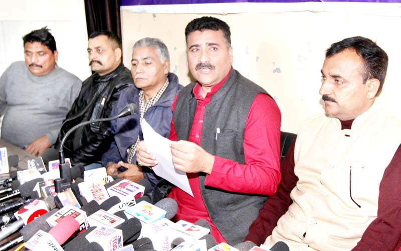 AJKPC President Anil Sharma addressing press conference in Jammu on Thursday. -Excelsior/Rakesh