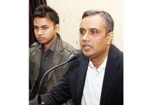 Regional PF Commissioner -I, Prasant K addressing a press conference at Jammu on Tuesday. -Excelsior/Rakesh