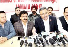 Representatives of Chamber of Traders Federation during a press conference in Jammu on Wednesday. -Excelsior/Rakesh