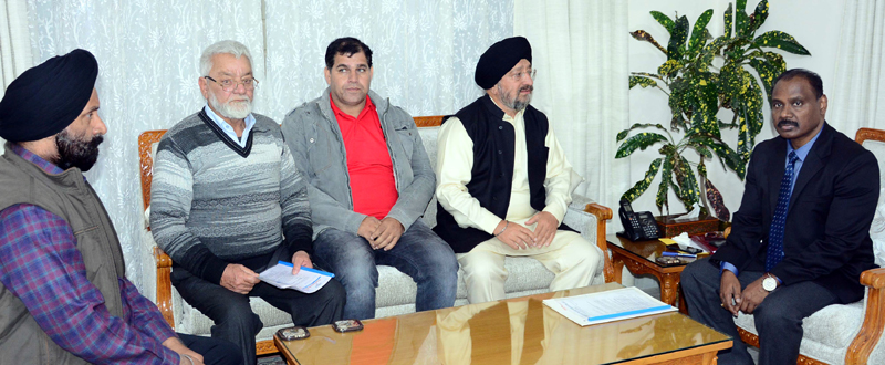 Lt Governor G C Murmu meeting deputation of All J&K Transport Welfare Association on Saturday.