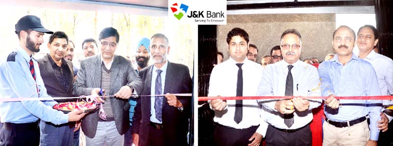 J&K Bank's Zonal Heads inaugurating ATM at Anantnag (L) & new branch (R) at Nud in Samba on Monday.