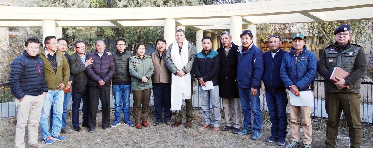 IGP Ladakh SS Khandare and LAHDC members during meeting at Leh.