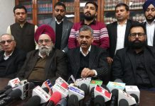President J&K High Court Bar Association Jammu Abhinav Sharma addressing press conference on Thursday. — Excelsior/Rakesh