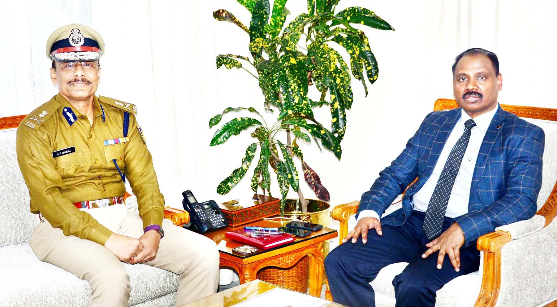 ADG CRPF, Arun Kumar Sharma during a meeting with Lieutenant Governor GC Murmu in Jammu on Monday.