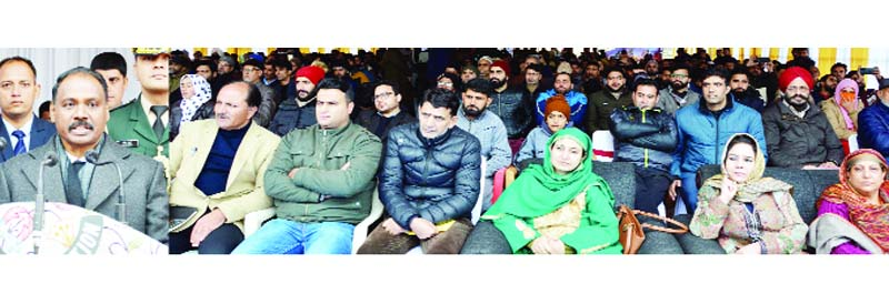 Lieutenant Governor, Girish Chandra Murmu addressing the gathering during Back to Village-2 programme at Sonpah, Beerwah in Budgam on Friday.