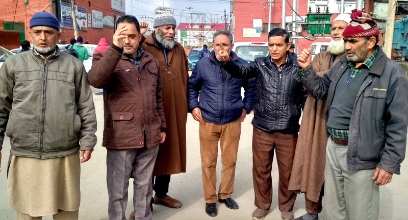 JKTDC retired employees protesting in Srinagar on Saturday. -Excelsior/Shakeel