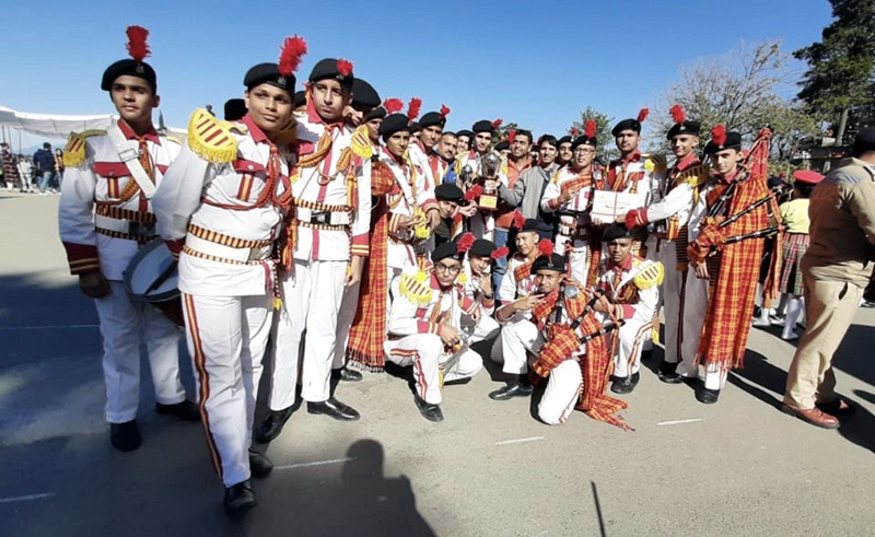 The team of Sainik School Nagrota posing for a photograph after winning 3rd position in North Zone School Band Competition held at Shimla.