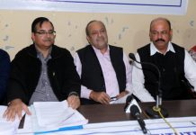 IIISLA members of J&K Chapter addressing a press conference at Jammu on Wednesday. —Excelsior/Rakesh