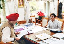 Ladakh MP meeting with Union Minister H S Puri at New Delhi on Tuesday.