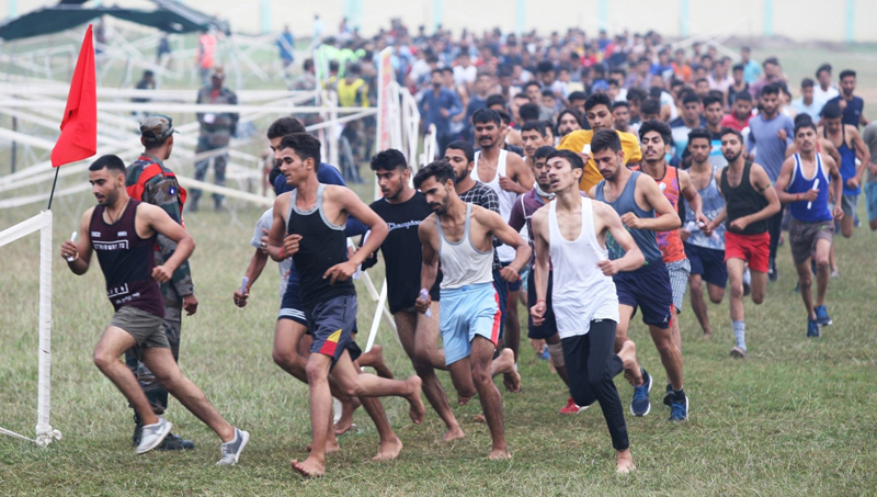 Youth undergoing physical fitness test during Army recruitment rally in Samba district.