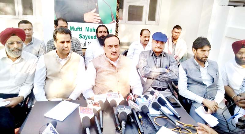 PDP general secretary Ved Mahajan addressing press conference in Jammu on Monday.