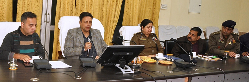 Divisional Commissioner Sanjeev Verma chairing a meeting at Ramban on Wednesday.