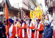 Impressive Nagar-Kirtan being taken out by Sikh community in Poonch town on Tuesday. -Excelsior/Gurjeet