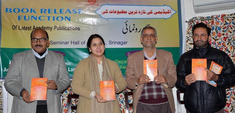 Union Joint Secretary, Ministry of Culture, Nirupama Kotru releasing a book in Srinagar on Tuesday.