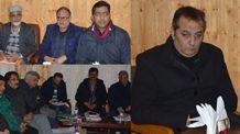 Advisor Farooq Khan convenes post snowfall review meeting at Srinagar on Saturday.