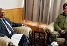Northern Command Chief Lt Gen Ranbir Singh in a meeting with Lt Governor of Ladakh R K Mathur in Leh on Wednesday.