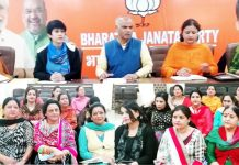 BJP leaders during a Mahila Morcha meeting at Jammu on Monday.