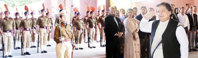 Chief Justice Gita Mittal receiving guard of honour in Jammu on Monday.