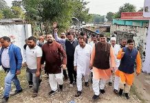 MP, Jugal Kishore Sharma leading Gandhi Sankalp Yatra in Chowki Choura area of Akhnoor Assembly segment on Wednesday.