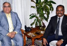 Lt Governor G C Murmu and B R Sharma during a meeting on Wednesday.