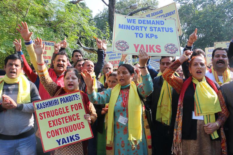 YAIKS activists protesting at Jammu on Saturday. —Excelsior/Rakesh