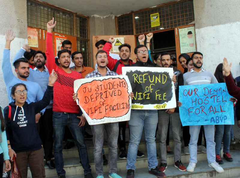 ABVP activists protesting at JU on Friday.