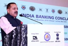 Union Minister Dr Jitendra Singh addressing the inaugural function of the two-day India Banking Conclave, at New Delhi on Tuesday.