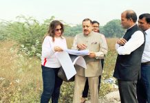 Union Minister Dr Jitendra Singh during a visit to the site of the proposed North East Convention Centre (NECC) at Sector 13, Dwarka, New Delhi on Wednesday.