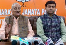 Senior BJP leader, Kuldeep Raj Gupta talking to reporters at Jammu on Thursday.