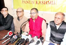 PK leaders at a press conference in Jammu on Sunday.