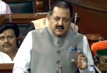 Union Minister Dr Jitendra Singh speaking in the Lok Sabha on Wednesday.