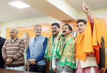 BJP leaders during a party function at Jammu on Friday.