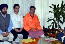 Lt Governor G C Murmu meeting BJP delegation led by Ravinder Raina on Tuesday.