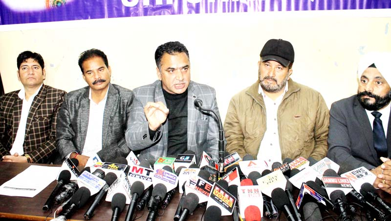 AJKPC chairman Shafiq Mir addressing press conference in Jammu on Thursday. -Excelsior/Rakesh