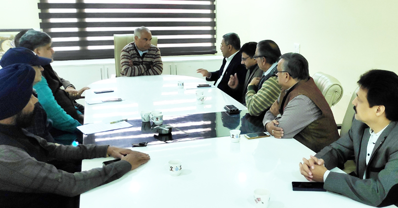 CTF delegation discussing traders issues with BJP general secretary (org), Ashok Kaul at Jammu on Friday.