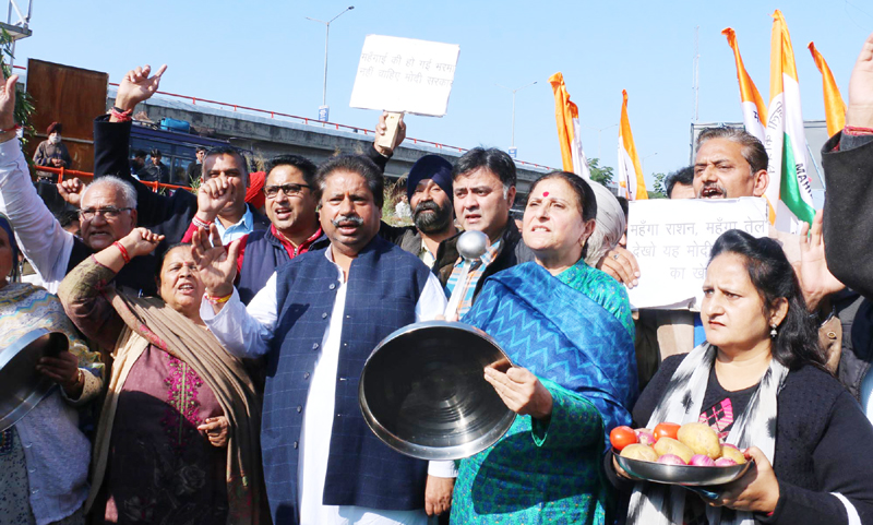 Cong activists staging protest against BJP Govt in Jammu on Saturday. —Excelsior/Rakesh