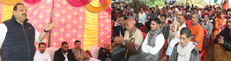 NC Provincial President Devender Singh Rana addressing a gathering in Nagrota Assembly constituency on Saturday.