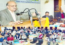 Chief Secretary BVR Subrahmanyam speaking at a workshop on Jal Jeevan on Tuesday.