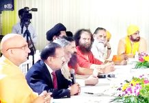 Inter religious faith leaders meeting National Security Advisor Ajit Doval at his residence in New Delhi on Sunday. (UNI)