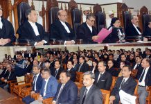 Chief Justice Gita Mittal alongwith other Judges during farewell function at HC Wing in Jammu on Friday.