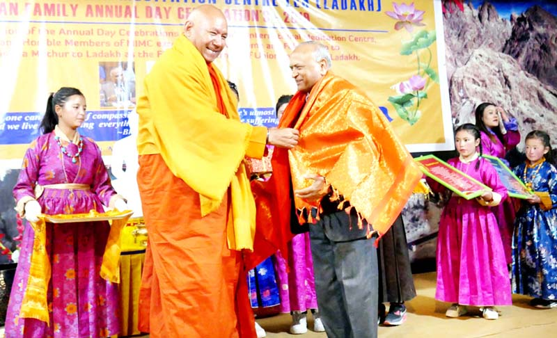 LG R.K Mathur being felicitated at MIMC Devachan Family annual day celebration on Sunday.