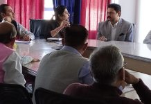 Director Industries and Commerce, Jammu, Anoo Malhotra in a meeting with industrialists of Kathua.