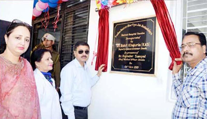 Deputy Commissioner Samba Rohit Khajuria inaugurating PMBJAK on Monday.