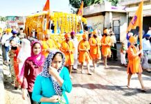 Nagar Kirtan being taken out in Kathua on Sunday. -Excelsior/Pardeep