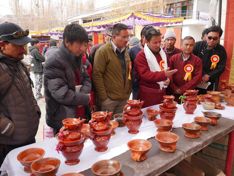 Hill Council Dy Chairman, Tsering Sandup and AD Handicrafts, Sonam Gurmet inspecting stalls at an exhibition at Leh. —Excelsior/Morup Stanzin