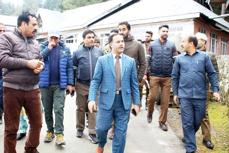 Deputy Commissioner Baramulla Dr G N Itoo during visit to Gulmarg on Monday.