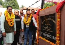 Former MLC Vikram Randhawa inaugurating lane and drain in Sector-D, Sainik Colony in Jammu.