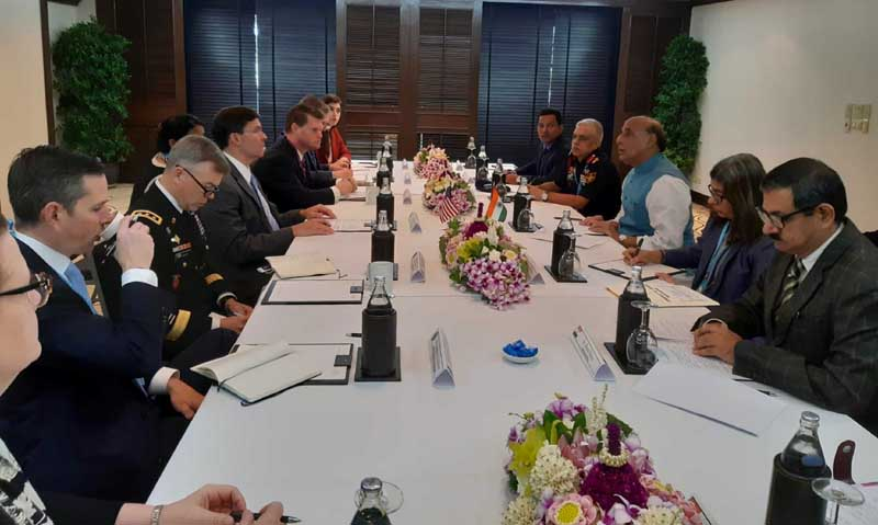 Defence Minister Rajnath Singh meeting US Secretary of Defence Dr Mark T Esper on the sidelines of ADMM-Plus in Bangkok on Sunday. (UNI)